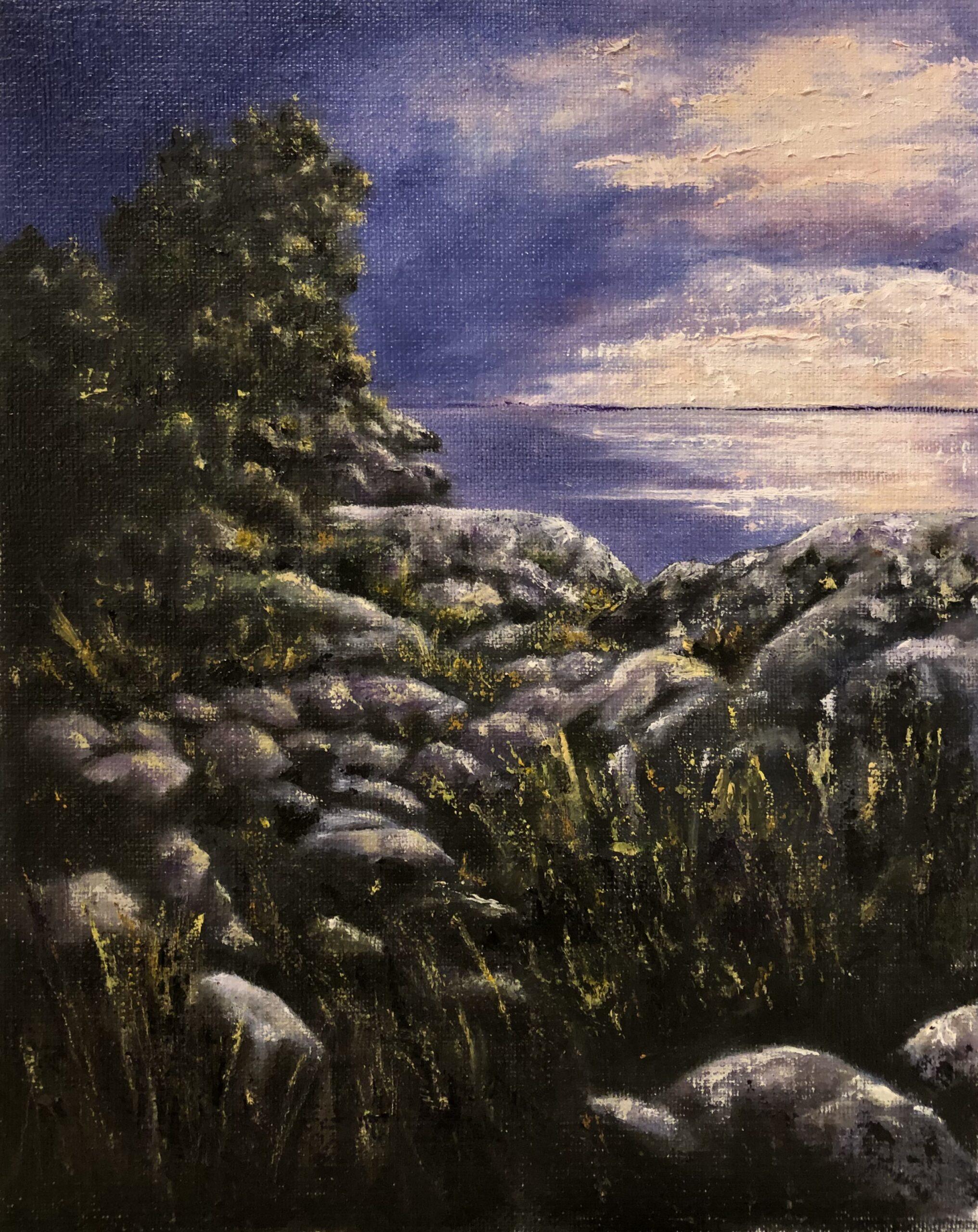 Skymning vid Vättern - 790