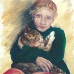 Flicka med katt - 131
